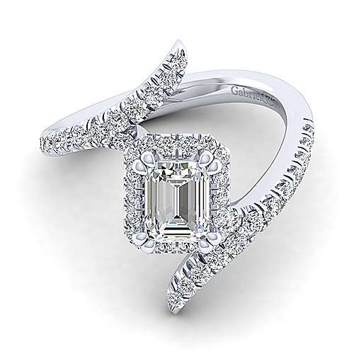 Gabriel - Nebula 14k White Gold Emerald Cut Halo Engagement Ring