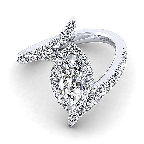 Gabriel - Nebula 14k White Gold Marquise  Halo Engagement Ring
