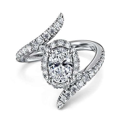 Gabriel - Nebula 14k White Gold Oval Halo Engagement Ring