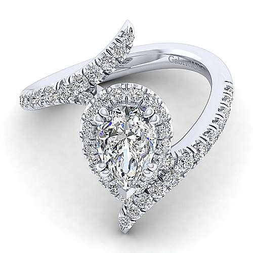 Gabriel - Nebula 14k White Gold Pear Shape Halo Engagement Ring