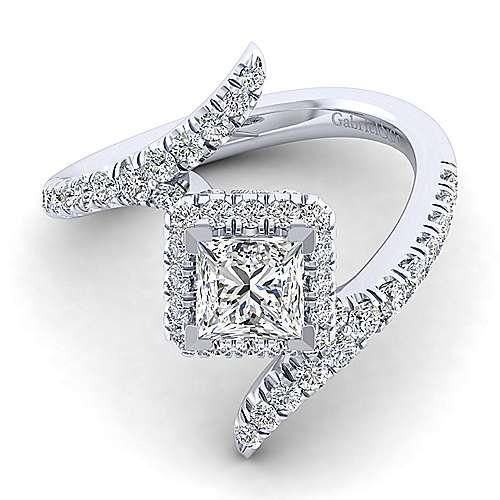 Gabriel - Nebula 14k White Gold Princess Cut Halo Engagement Ring
