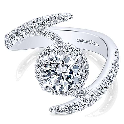 Nebula 14k White Gold Round Halo Engagement Ring angle 1