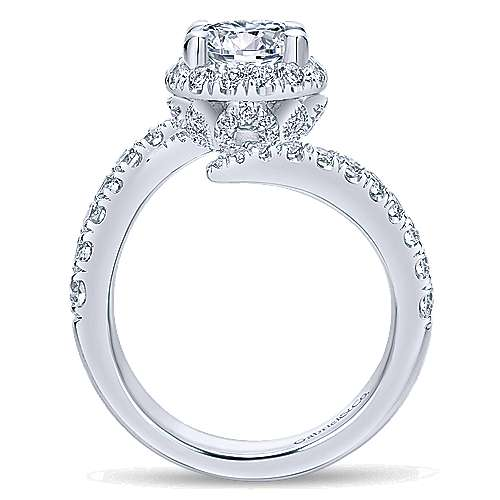 Nebula 14k White Gold Round Halo Engagement Ring angle 2