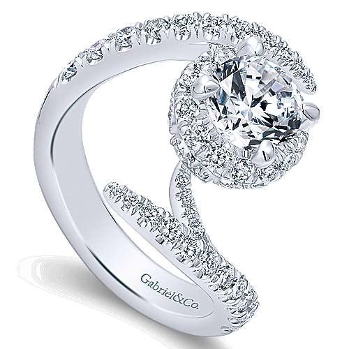 Nebula 14k White Gold Round Halo Engagement Ring angle 3