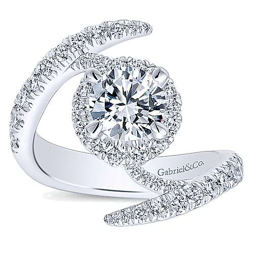 Nebula 14k White Gold Round Halo Engagement Ring angle 5