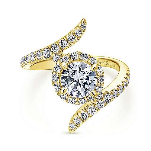 Gabriel - Nebula 14k Yellow Gold Round Halo Engagement Ring