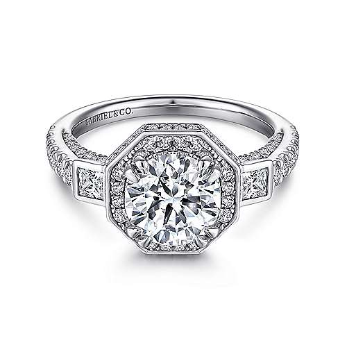 Nellie 14k White Gold Round 3 Stones Halo Engagement Ring angle 1