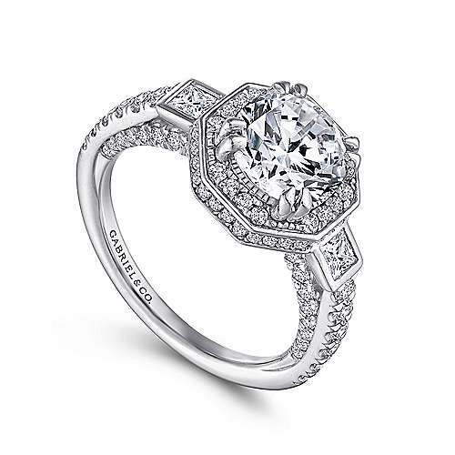 Nellie 14k White Gold Round 3 Stones Halo Engagement Ring angle 3