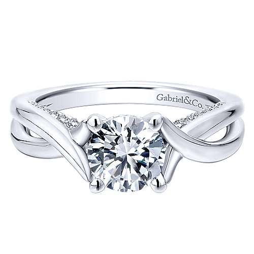 Gabriel - Nerine 14k White Gold Round Twisted Engagement Ring