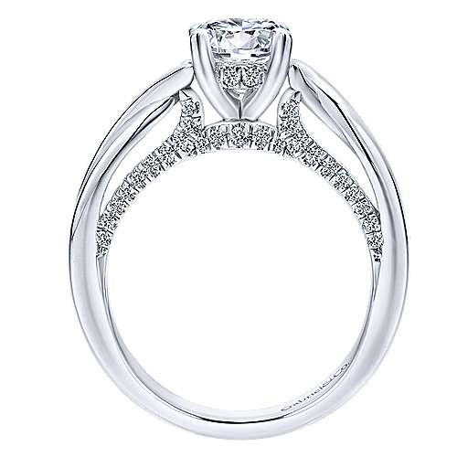 Nerine 14k White Gold Round Twisted Engagement Ring angle 2