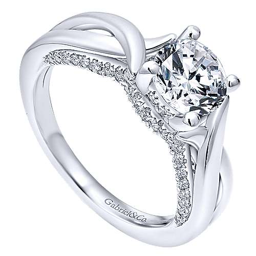 Nerine 14k White Gold Round Twisted Engagement Ring angle 3