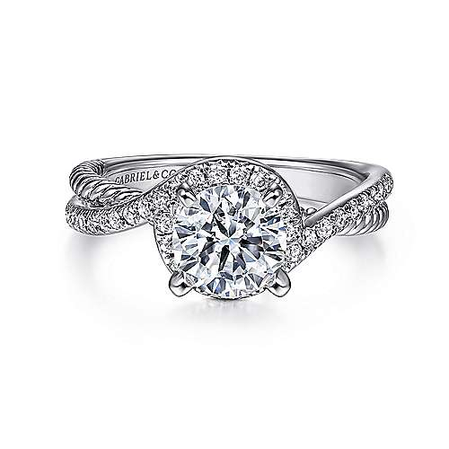 Gabriel - Nerissa 14k White Gold Round Halo Engagement Ring