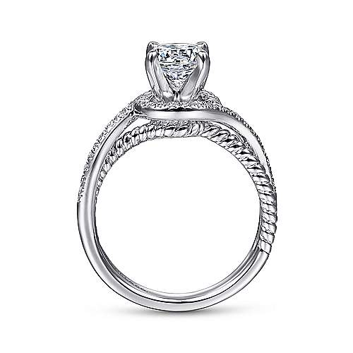 Nerissa 14k White Gold Round Halo Engagement Ring angle 2