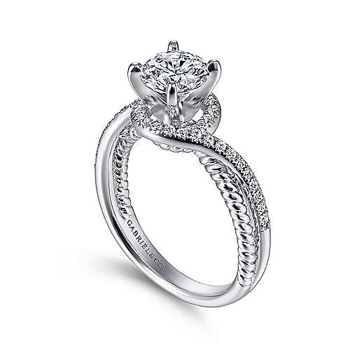 Nerissa 14k White Gold Round Halo Engagement Ring angle 3