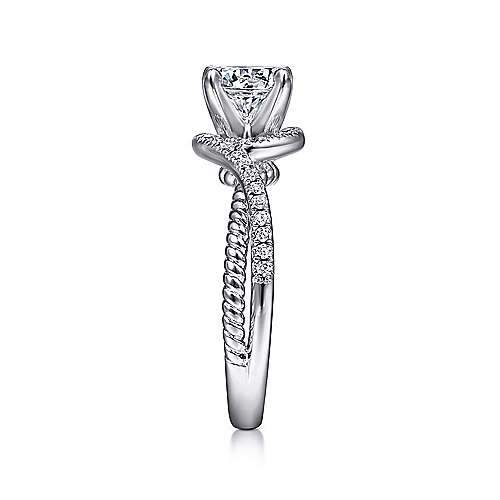 Nerissa 14k White Gold Round Halo Engagement Ring angle 5