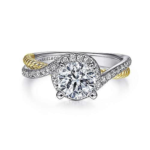 Gabriel - Nerissa 14k Yellow And White Gold Round Halo Engagement Ring