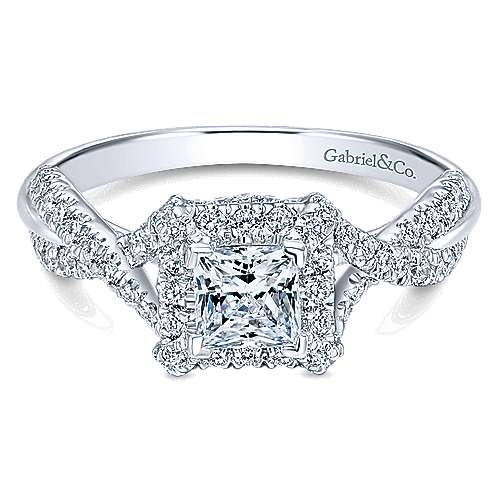 Gabriel - Nero 14k White Gold Princess Cut Halo Engagement Ring