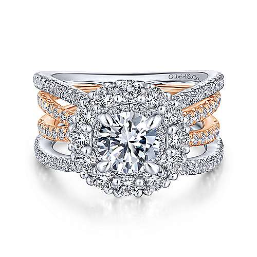 Gabriel - Nessa 18k White And Rose Gold Round Double Halo Engagement Ring