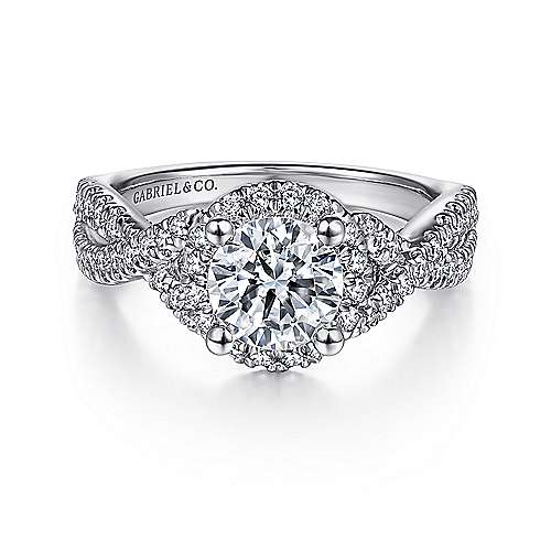 Gabriel - Newbury 14k White Gold Round Halo Engagement Ring