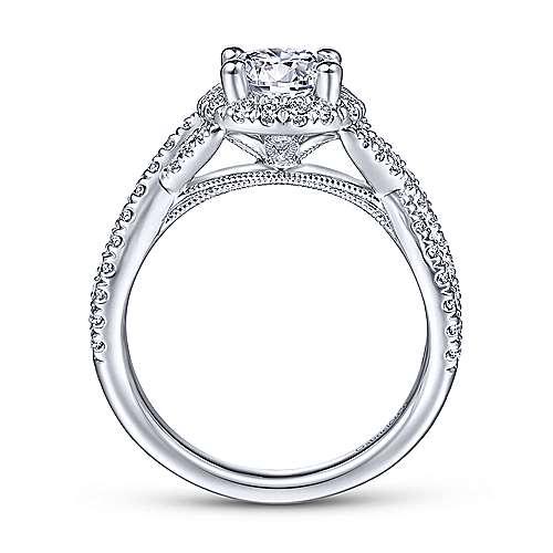 Newbury 14k White Gold Round Halo Engagement Ring angle 2