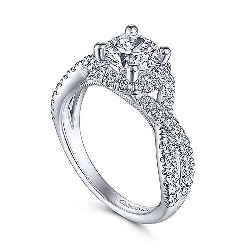 Newbury 14k White Gold Round Halo Engagement Ring angle 3