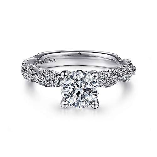Gabriel - Nia 14k White Gold Round Twisted Engagement Ring