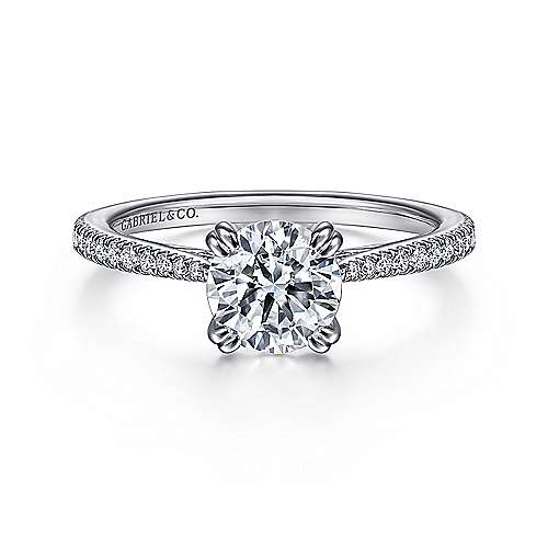 Nicky 18k White Gold Round Straight Engagement Ring angle 1