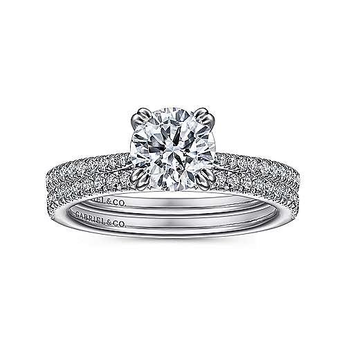 Nicky 18k White Gold Round Straight Engagement Ring