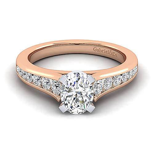 Nicola 14k White And Rose Gold Oval Straight Engagement Ring angle 1