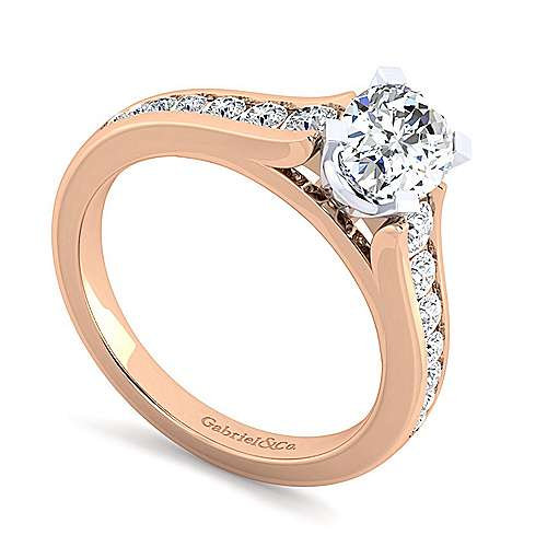 Nicola 14k White And Rose Gold Oval Straight Engagement Ring angle 3