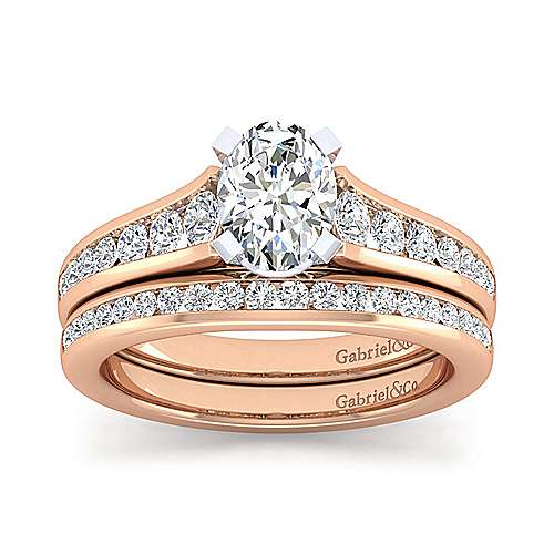 Nicola 14k White And Rose Gold Oval Straight Engagement Ring angle 4