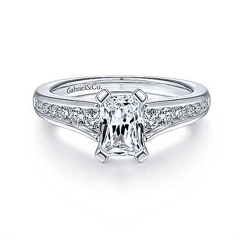 Gabriel - Nicola 14k White Gold Emerald Cut Straight Engagement Ring