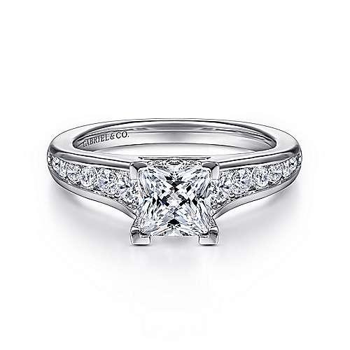 Gabriel - Nicola 14k White Gold Princess Cut Straight Engagement Ring