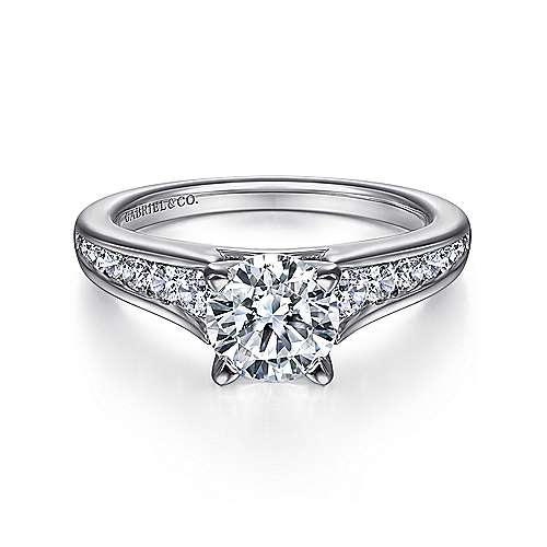 Gabriel - Nicola 14k White Gold Round Straight Engagement Ring