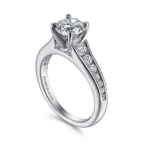Nicola 14k White Gold Round Straight Engagement Ring angle 3