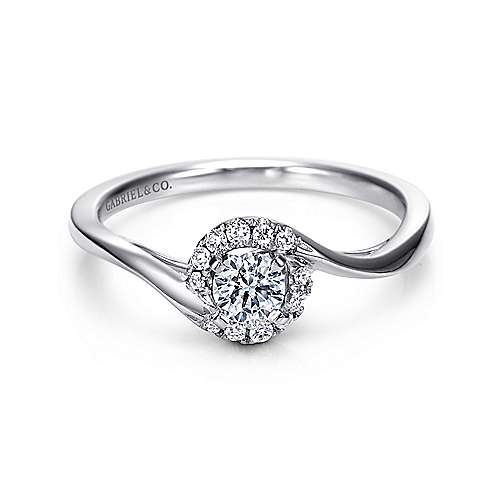 Gabriel - Nigela 14k White Gold Round Halo Engagement Ring