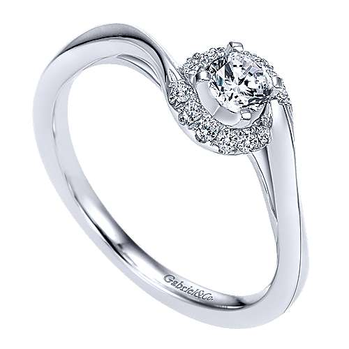 Nigela 14k White Gold Round Halo Engagement Ring angle 3