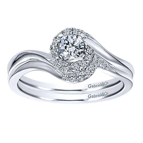 Nigela 14k White Gold Round Halo Engagement Ring angle 4