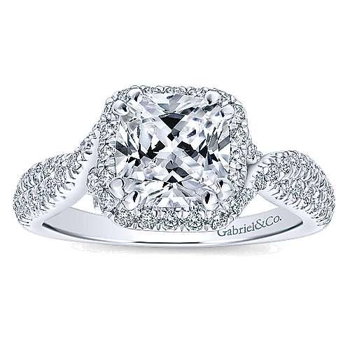 Nigella 14k White Gold Cushion Cut Halo Engagement Ring