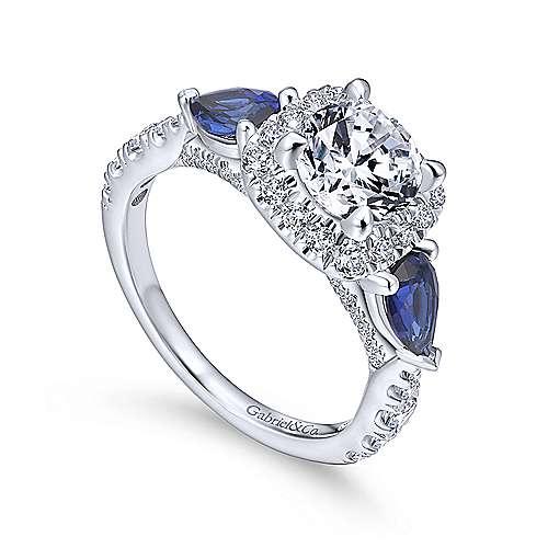 Nightshade 14k White Gold Round 3 Stones Halo Engagement Ring angle 3