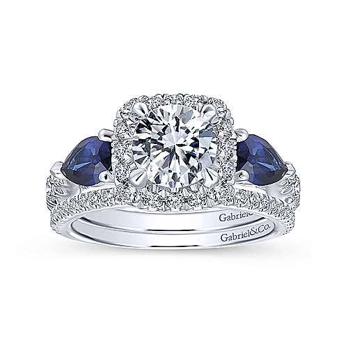 Nightshade 14k White Gold Round 3 Stones Halo Engagement Ring angle 4