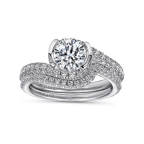 Nikko 14k White Gold Round Bypass Engagement Ring angle 4