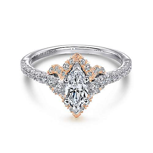 Gabriel - Nirvana 14k White And Rose Gold Marquise  Halo Engagement Ring