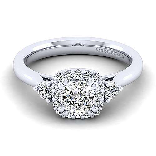 Gabriel - Noelle 14k White Gold Cushion Cut 3 Stones Halo Engagement Ring