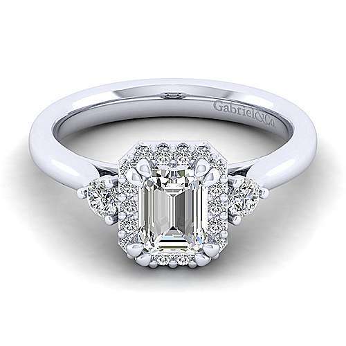 Gabriel - Noelle 14k White Gold Emerald Cut 3 Stones Halo Engagement Ring