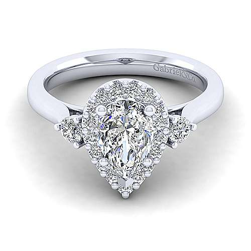 Gabriel - Noelle 14k White Gold Pear Shape 3 Stones Halo Engagement Ring