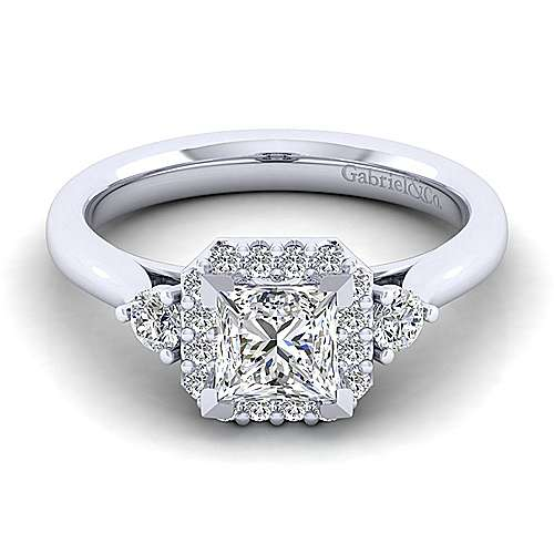 Gabriel - Noelle 14k White Gold Princess Cut 3 Stones Halo Engagement Ring