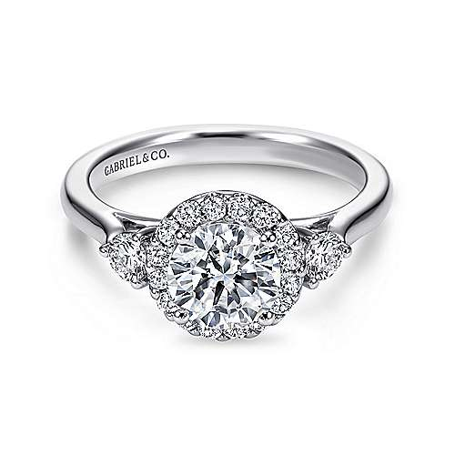 Gabriel - Noelle 14k White Gold Round 3 Stones Halo Engagement Ring