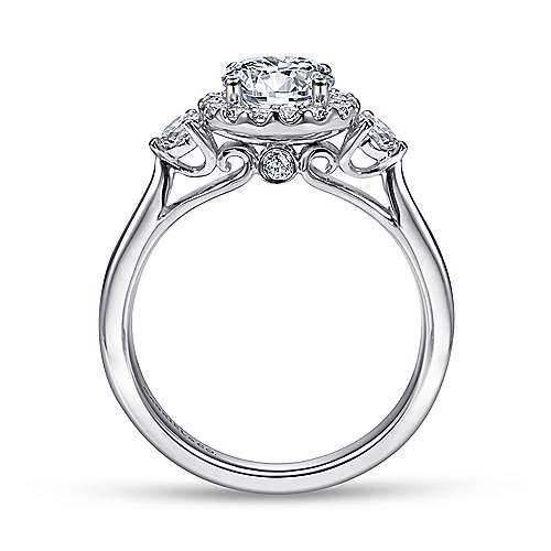 Noelle 14k White Gold Round 3 Stones Halo Engagement Ring angle 2