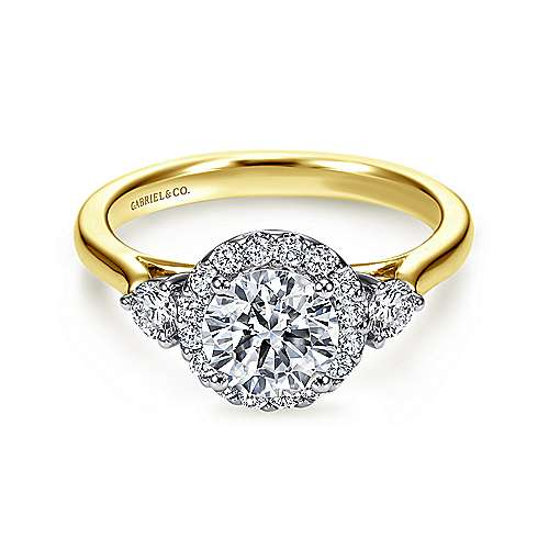 Gabriel - Noelle 14k Yellow And White Gold Round Halo Engagement Ring